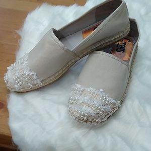 Circus by Sam Edelman Shoes - Sam Edelman tan espadrille slip-ons with pearls